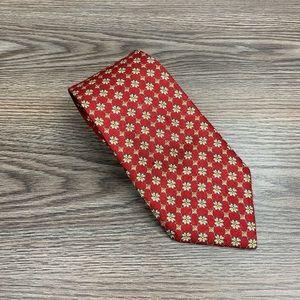 Nina Ricci Red w/ Gold, Grey & White Check Tie